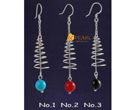 semi-precious stones screwing 925 silver earrings