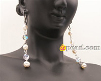 Clear AB Swarovski crystal and white FW pearl dangler earrings