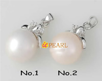 12-13mm super luster round pearl pendant in silver