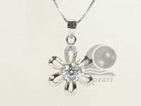 flower shape 15*23mm 925 rhodium plated sterling silver pendant