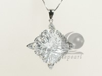 30*40mm sterling silver rhodium plated pendant