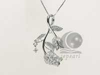 leaf shape 20*30mm sterling silver rhodium plated pendant