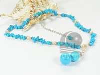 turquoise beaded necklace with freshwater pink rice pearl