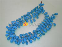 blue side-drilled tear-drop turquoise strands wholesale online
