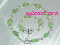 top drilled rice shaped pearl necklace set with crystal beads