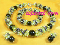 5-6mm white rice shaped pearl necklace set with yellow crystal b