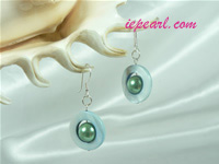 pale blue circular shaped shell pearl siver dangling earrings