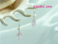 pink prismatic shaped crystal sterling siver dangling earrings