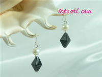black prismatic shaped crystal sterling siver dangling earrings